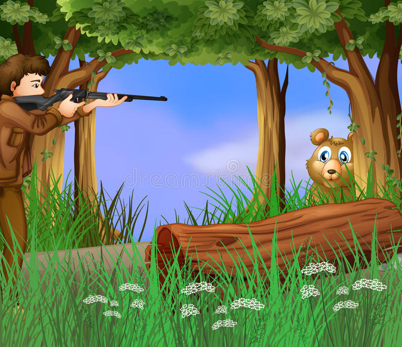 A hunter and a scared bear stock illustration