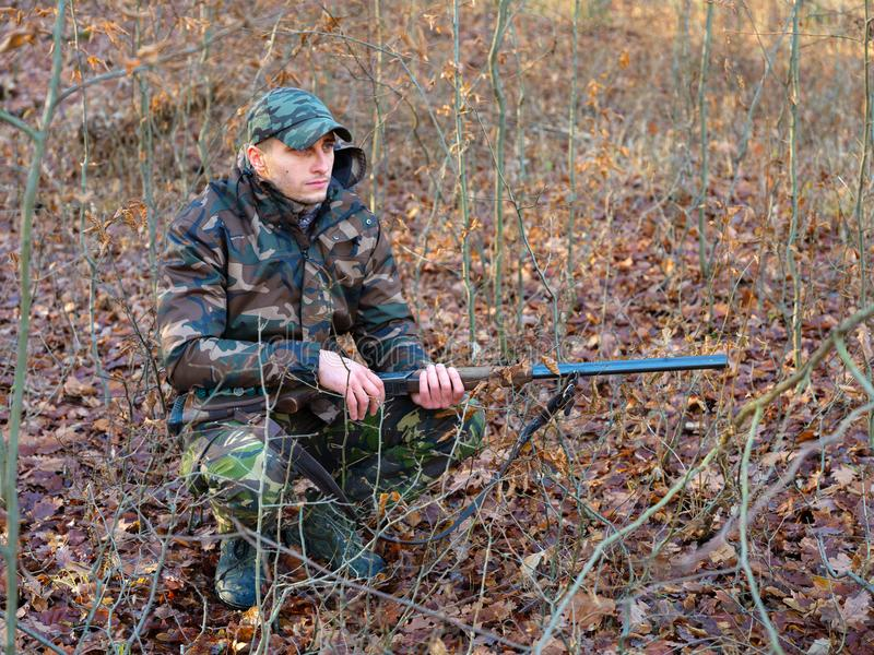 Hunter with shotgun royalty free stock photo