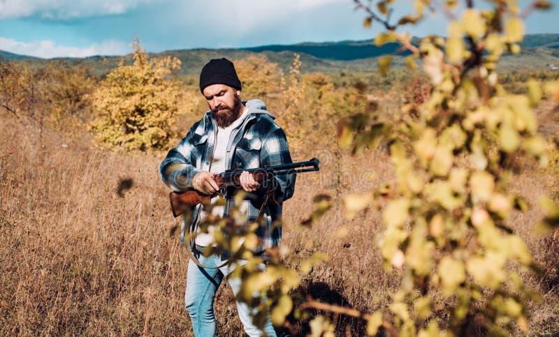 Hunter with shotgun gun on hunt. Wildlife Hunting. Hunter with shotgun gun on hunt. Wildlife Hunting royalty free stock photo