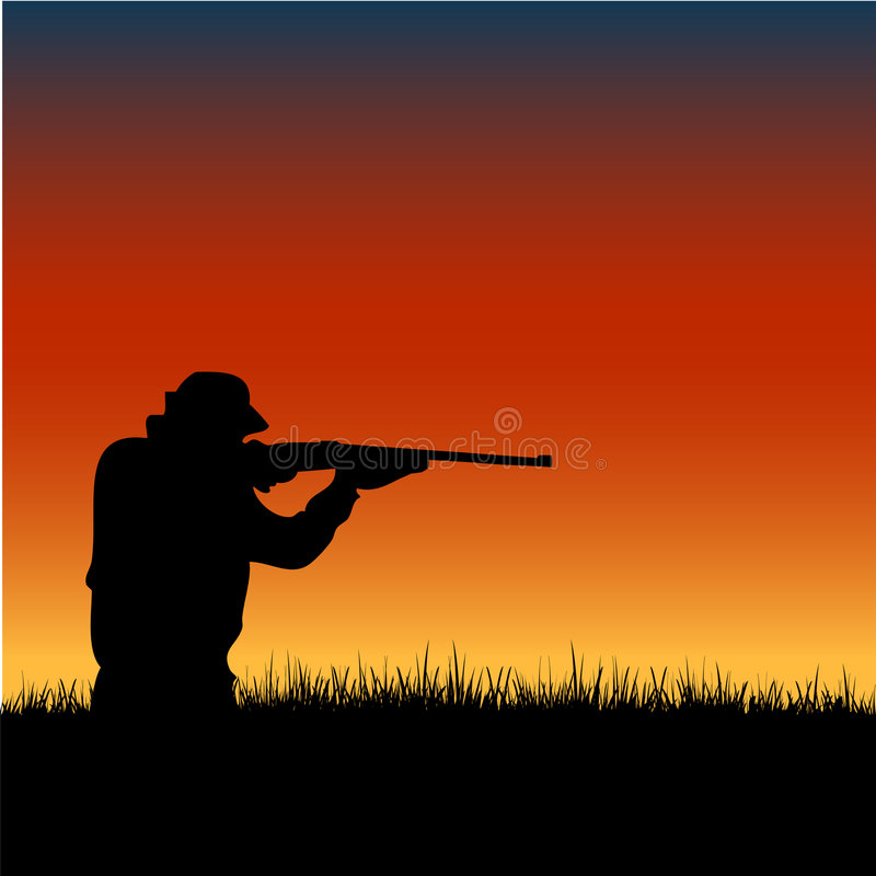 Free Hunter Silhouette At Sunset Royalty Free Stock Photography - 7693037