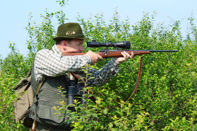 Hunter With Sniper Rifle Stock Photo