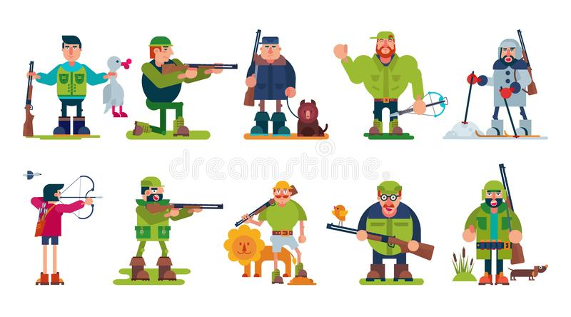 Hunter vector cartoon character of huntsman hunting with gun in forest and man in hat hunts with rifle or shotgun royalty free illustration