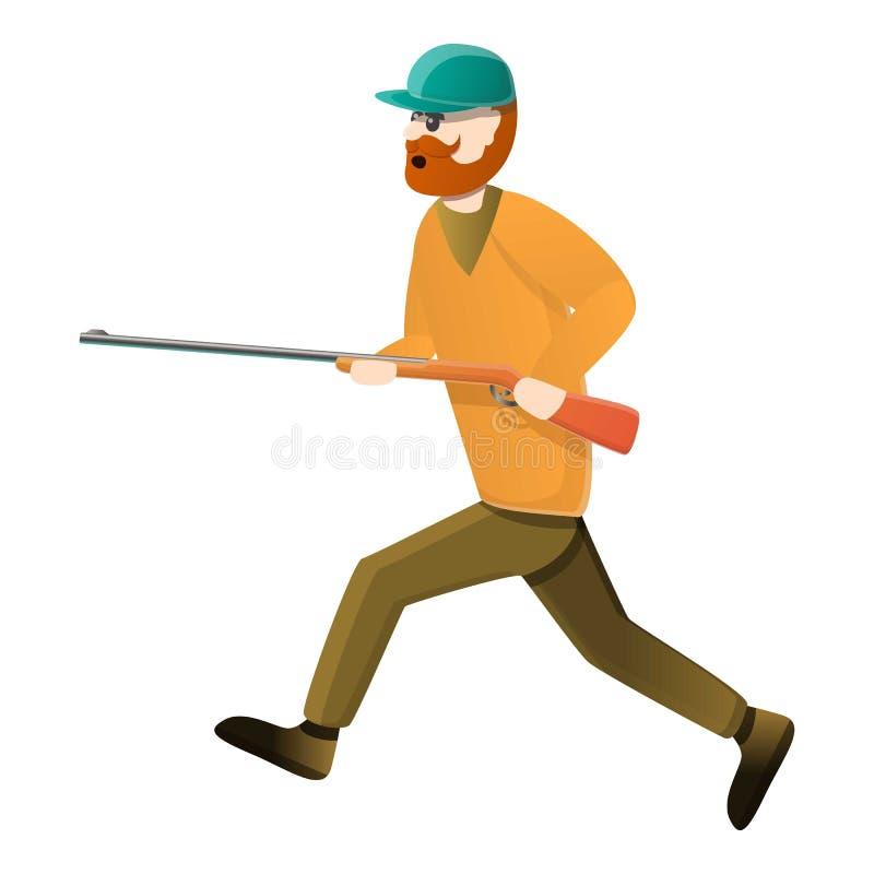 Hunter walking icon, cartoon style stock illustration