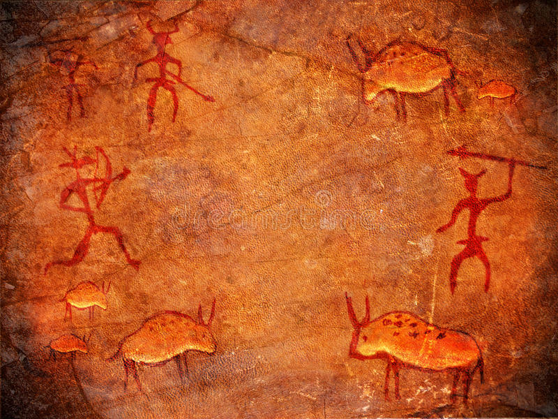 Hunters on cave paints stock illustration