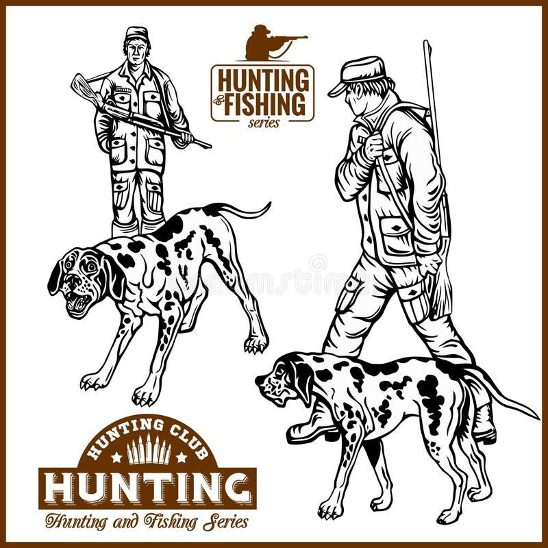 Hunters With Dogs - Retro Clipart Illustration - vector set. Plus logo royalty free illustration