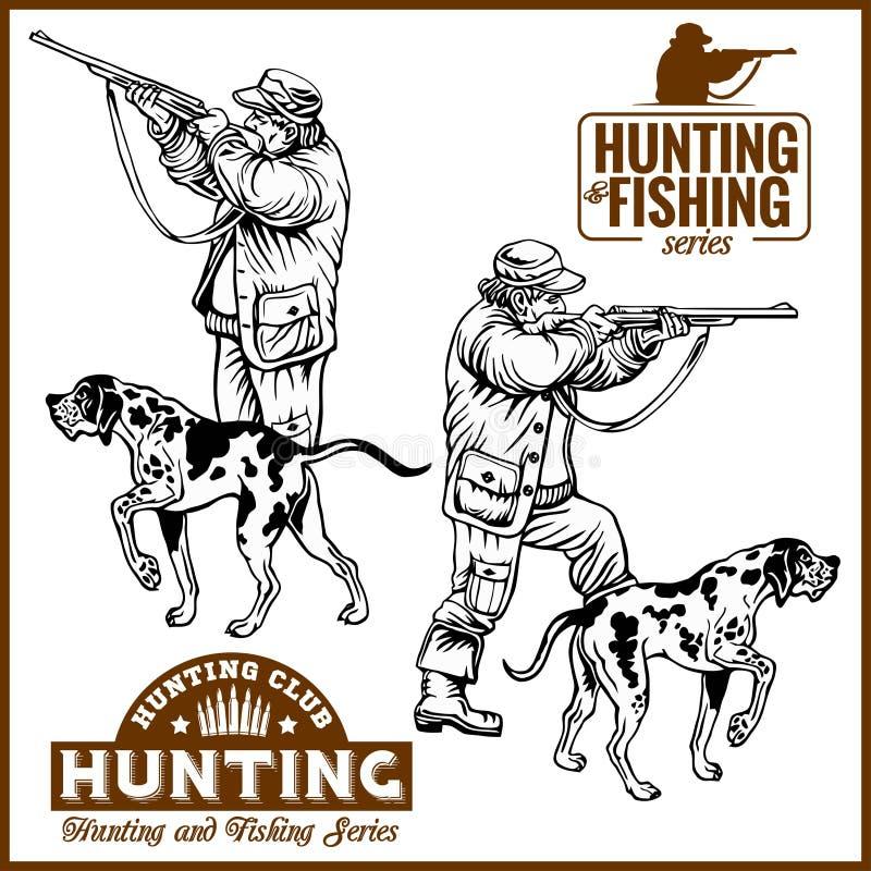 Hunters With Dogs - Retro Clipart Illustration - vector set. Plus logo vector illustration