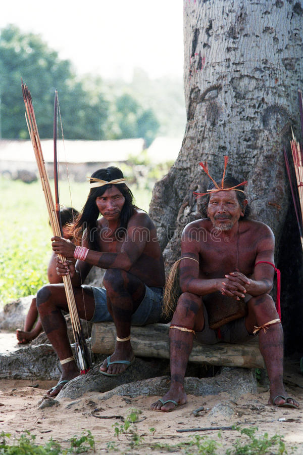 Hunters Krikati - Native indians of Brazil. The Krikati inhabit a territory of 146,000 hectares in the cerrado of Maranhao (Brazil). Have a population stock photography