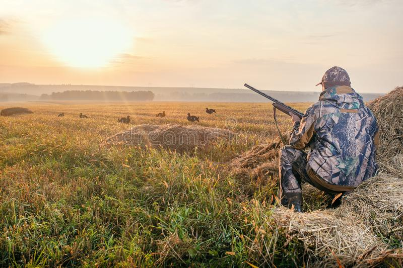 Hunters open season in autumn royalty free stock photography