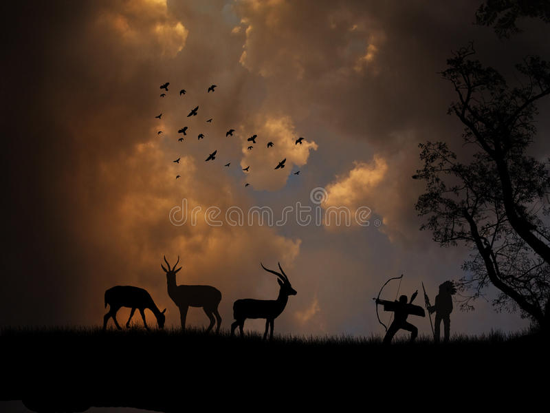 Hunting antelope. The bow hunting antelopes on beautiful landscape vector illustration
