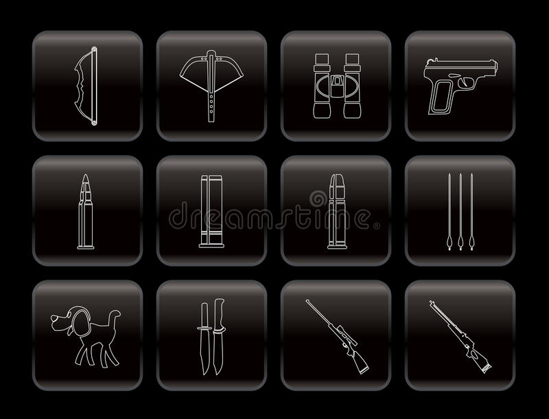 Hunting and arms Icons royalty free illustration