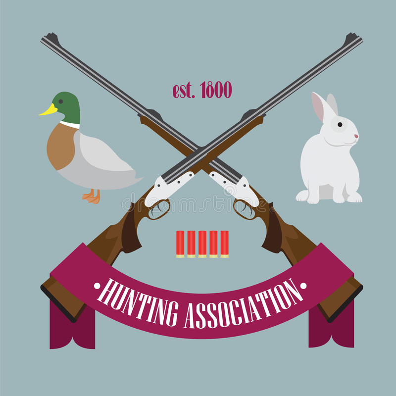 Hunting Association logo. Illustration of Hunting Association logo with rifles, bullets, rabbit, duck and tape with the text royalty free illustration