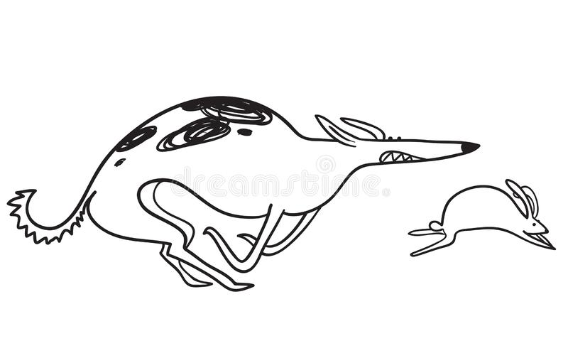 Hunting borzoi dog. Racing pet with rabbit. Vector illustration. With doodle sketchy russian wolfhound. Coursing sport vector illustration