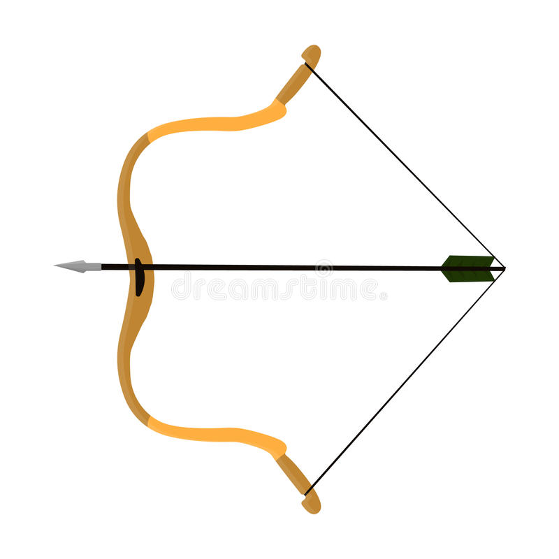 Hunting bow.The main weapon of the ancient Mongols.Mongolia single icon in cartoon style vector symbol stock. Web illustration royalty free illustration