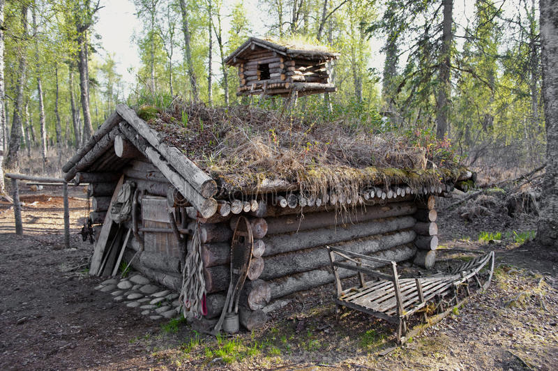 Hunting cabin in forest stock photo image of america for Hunting hut plans