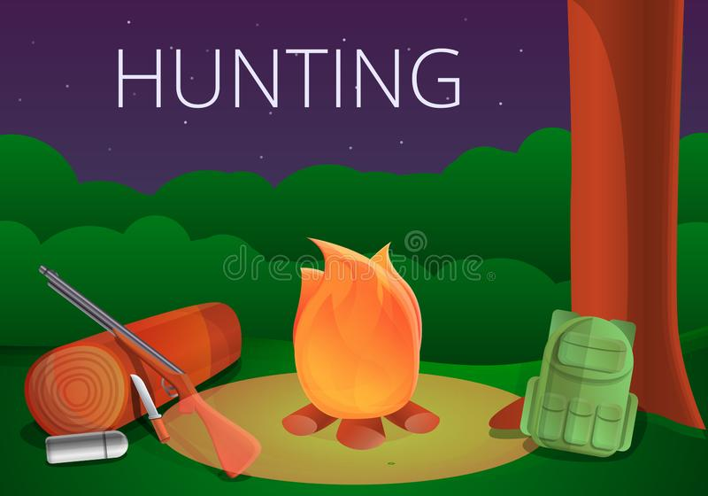 Hunting campfire concept banner, cartoon style stock illustration