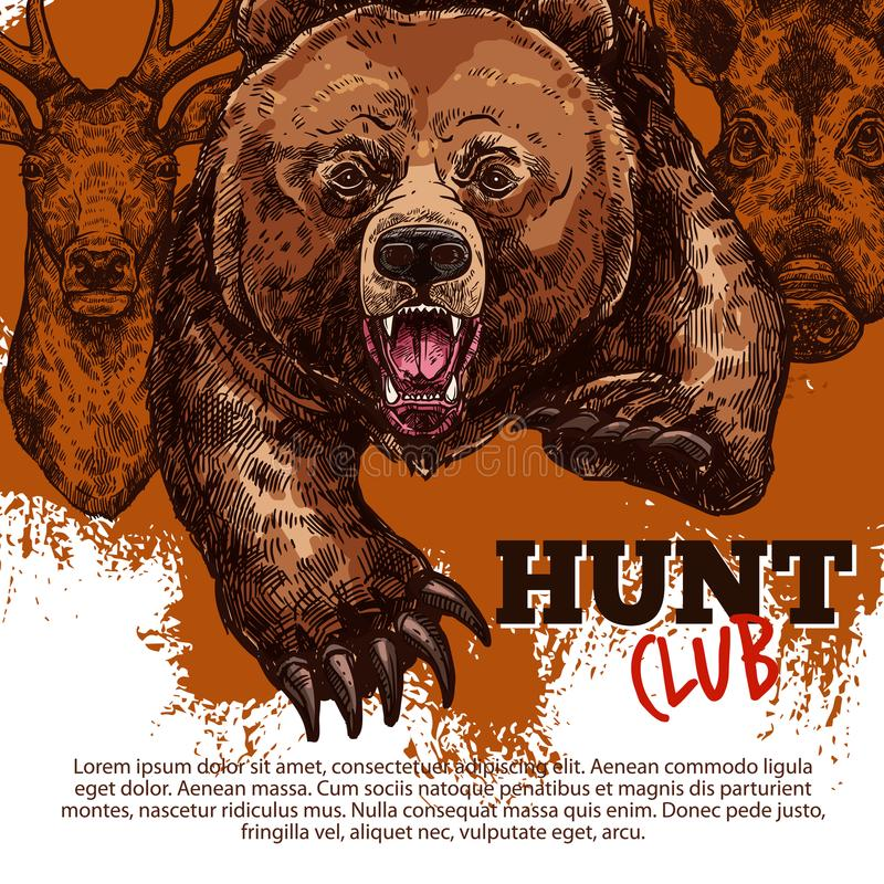 Hunting club poster with bear, deer, boar animal. Hunting sport club of hunter poster with wild bear, deer and boar animal sketch. Roaring grizzly attacking with vector illustration