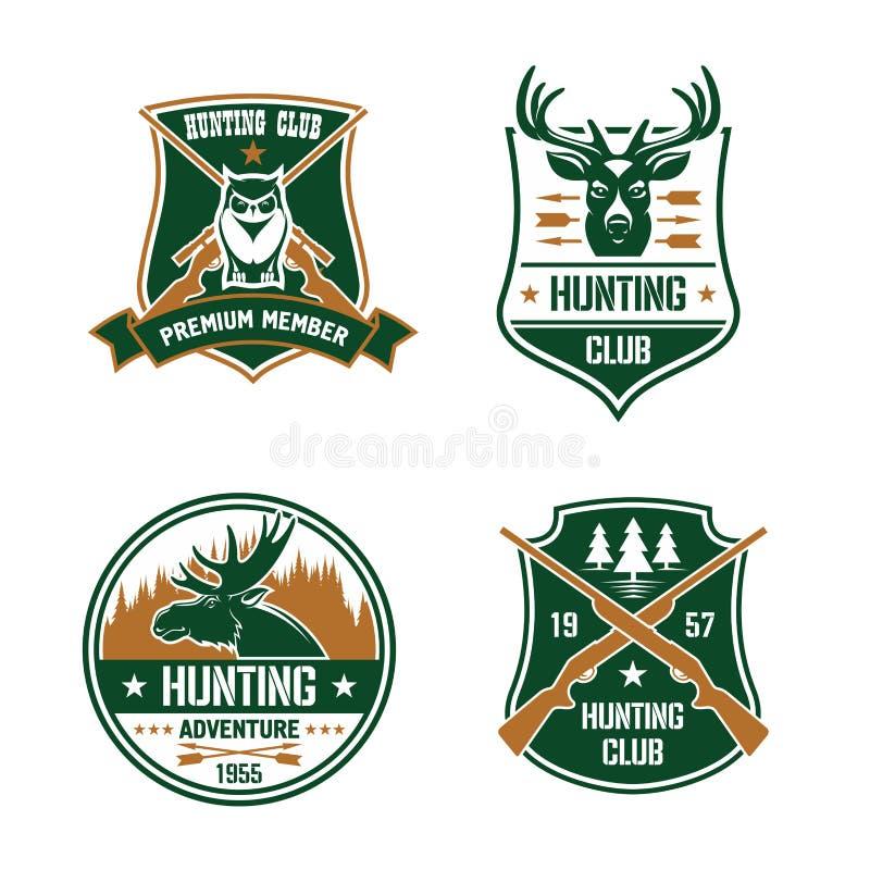 Hunting club shields set. Hunt sports emblems royalty free illustration