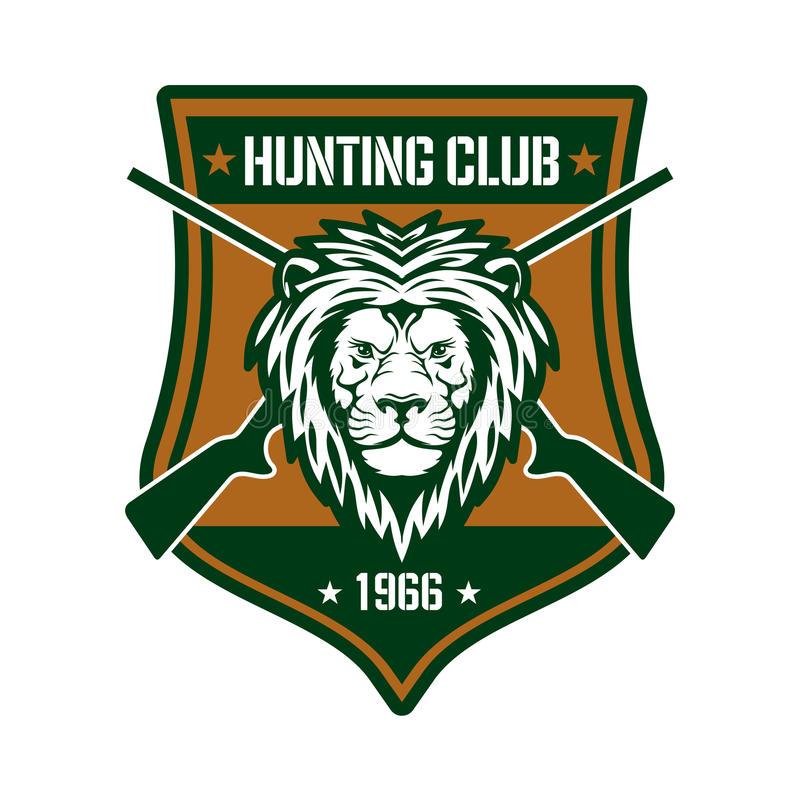 Hunting club sign with lion on heraldic shield vector illustration