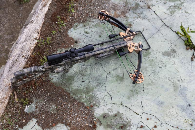 Hunting crossbow with an arrow stock images