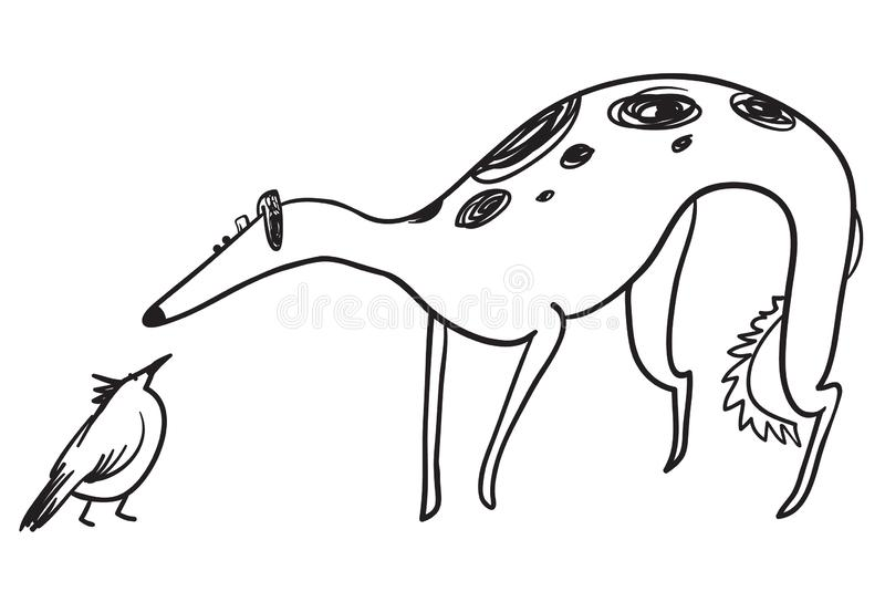 Hunting dog with bird. Russian borzoi breed. Wolfhound pet in sk. Etchy doodle style. Vector illustration stock illustration