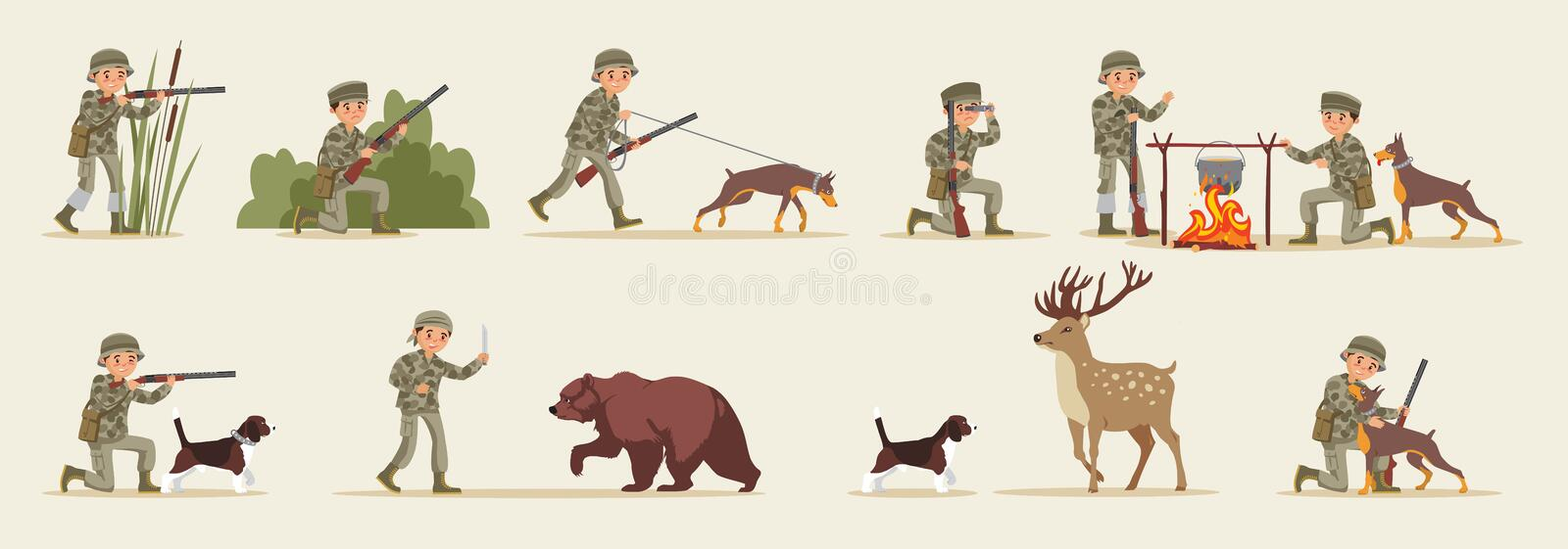 Hunting Elements Set. With hunters in different situations food cooking dog bear and deer isolated vector illustration royalty free illustration