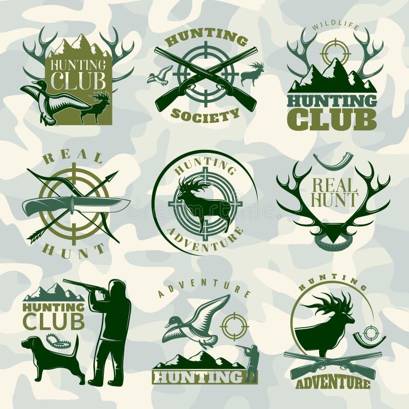 Hunting Emblem Set In Color Stock Vector