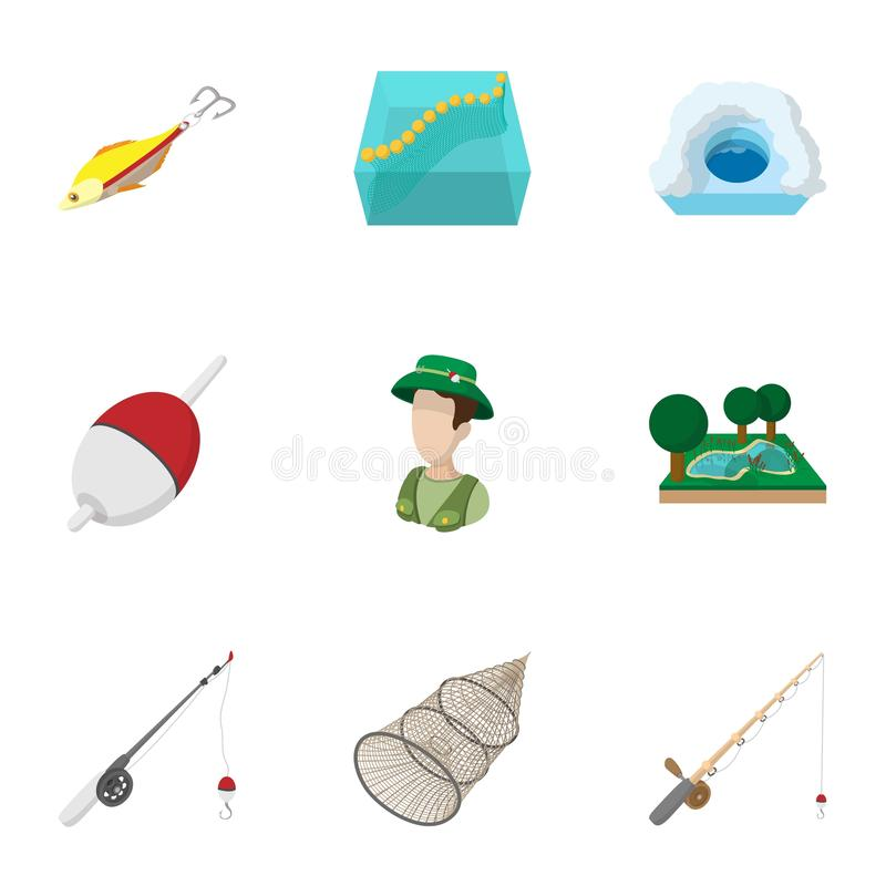 Hunting for fish icons set, cartoon style royalty free illustration