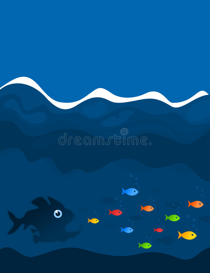 Hunting Of Fishes Stock Photo