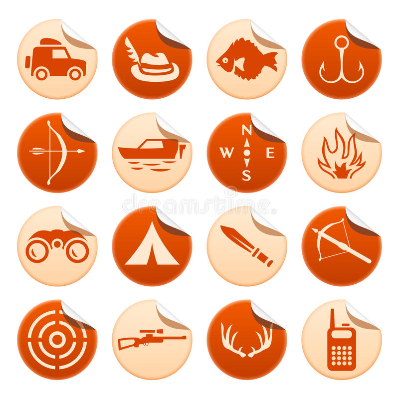 Download Hunting And Fishing Stickers Royalty Free Stock Images - Image: 31200409