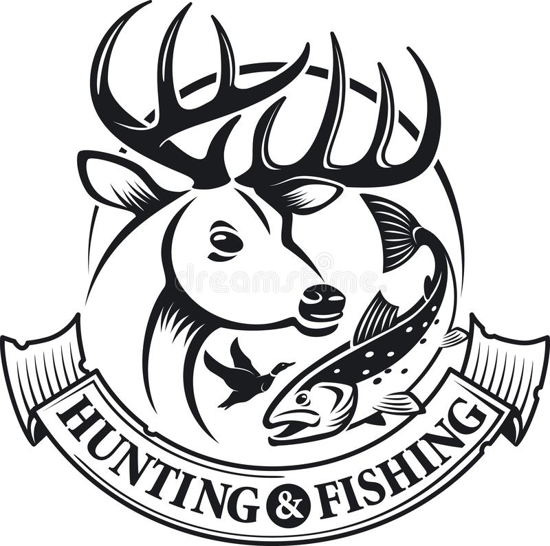 Hunting and fishing vector emblem and label.  royalty free illustration