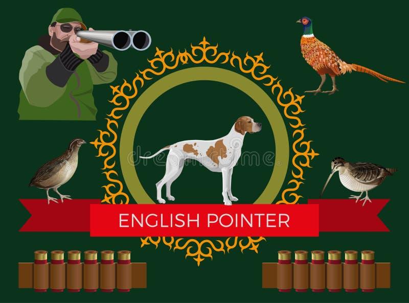 Hunting gun dog vector stock illustration