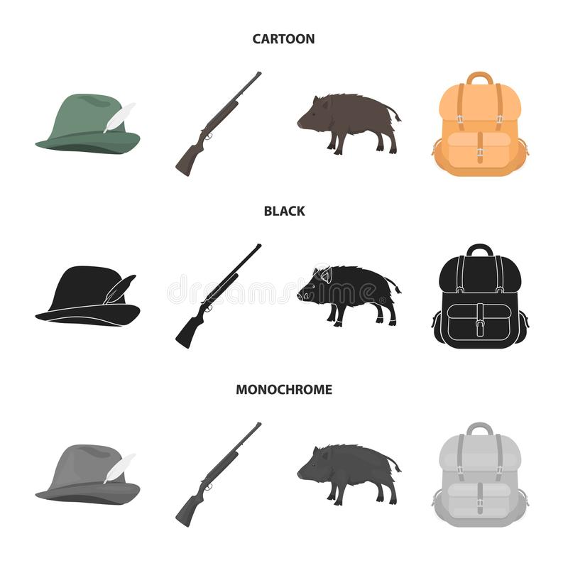 A hunting hat with a feather, a wild boar, a rifle, a backpack with things.Hunting set collection icons in cartoon,black. A hunting hat with a feather, a wild stock illustration