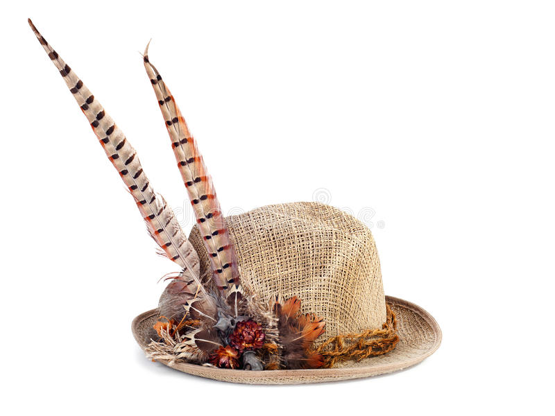Hunting hat with pheasant feathers on white. Hunting hat with pheasant feathers on white background stock image