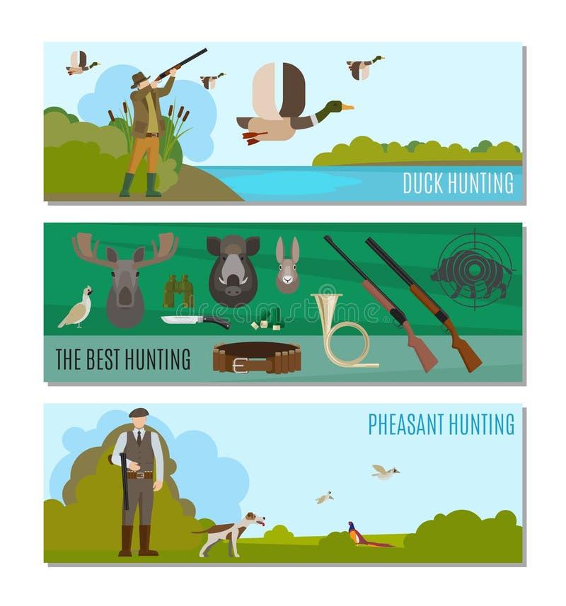 Hunting headers for website stock illustration