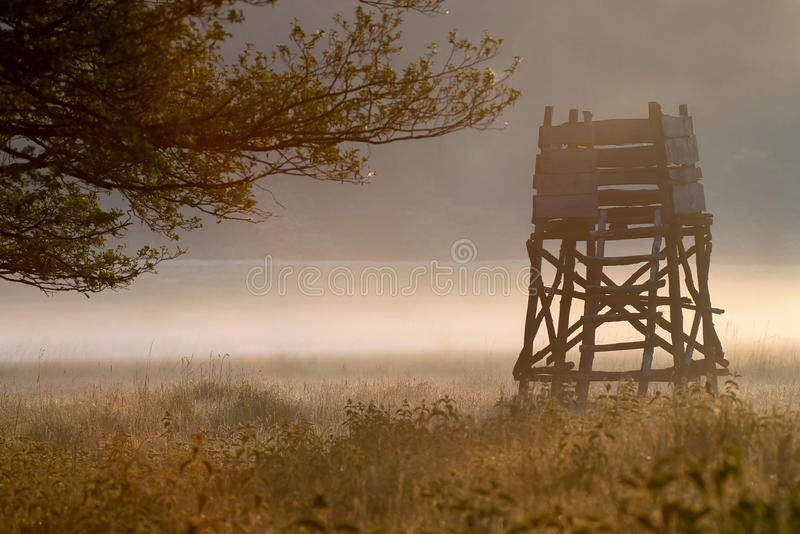 Hunting hide. In the sunrise stock photos