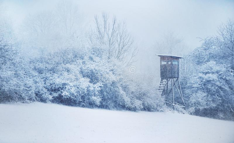 Hunting Hide. Winter in Central Europe. Snowfall. stock photography