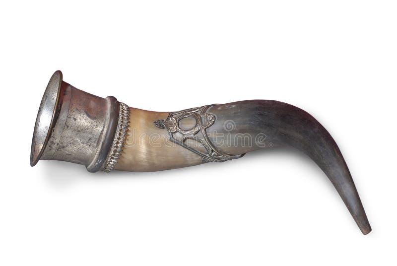 Hunting horn from buffalo horn royalty free stock photos