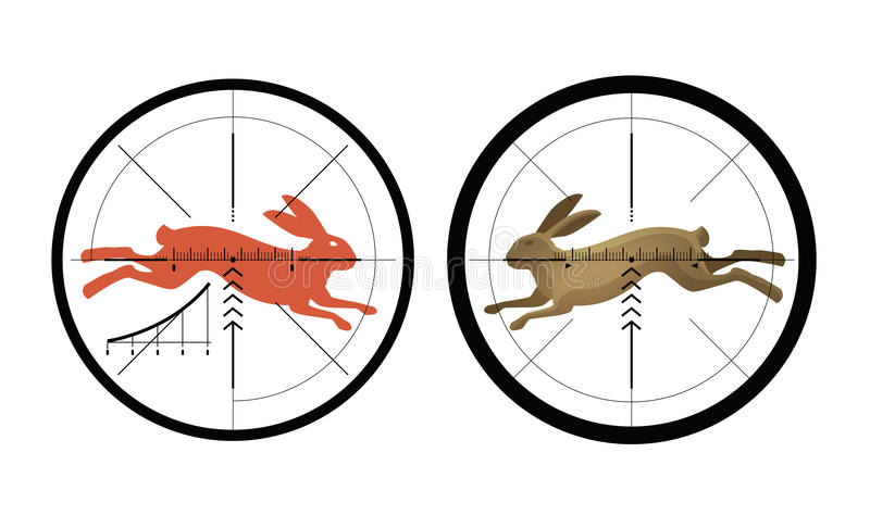 Hunting icon. Reticle, crosshair. Target symbol. Vector illustration royalty free illustration