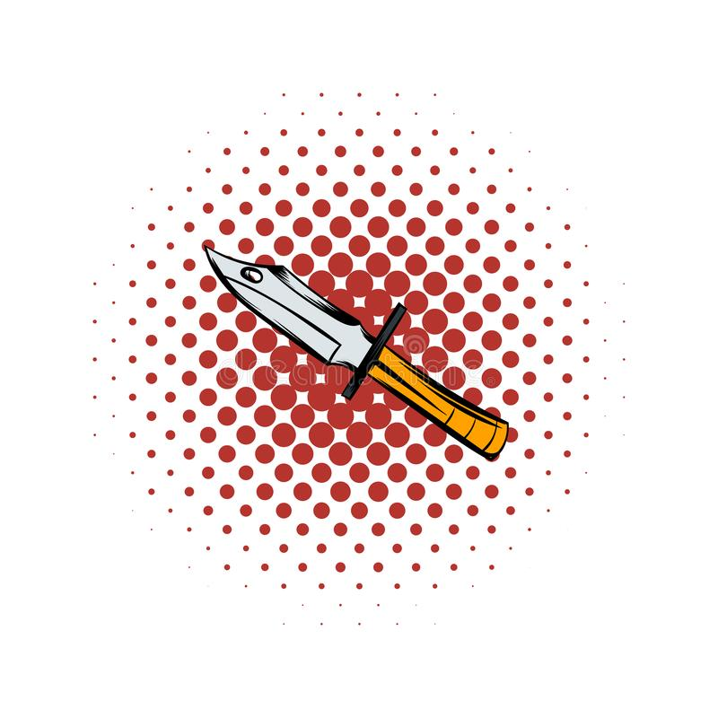 Hunting knife comics icon. On a white background vector illustration