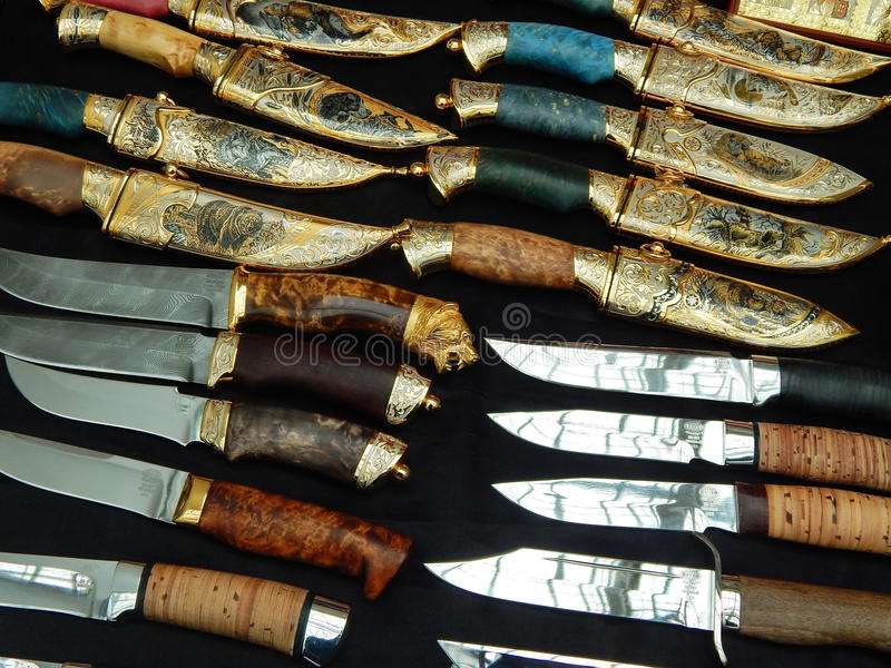 Hunting knives and daggers. At the international exhibition Arms & Hunting in Moscow. The shot was made in October, 2015 stock photos