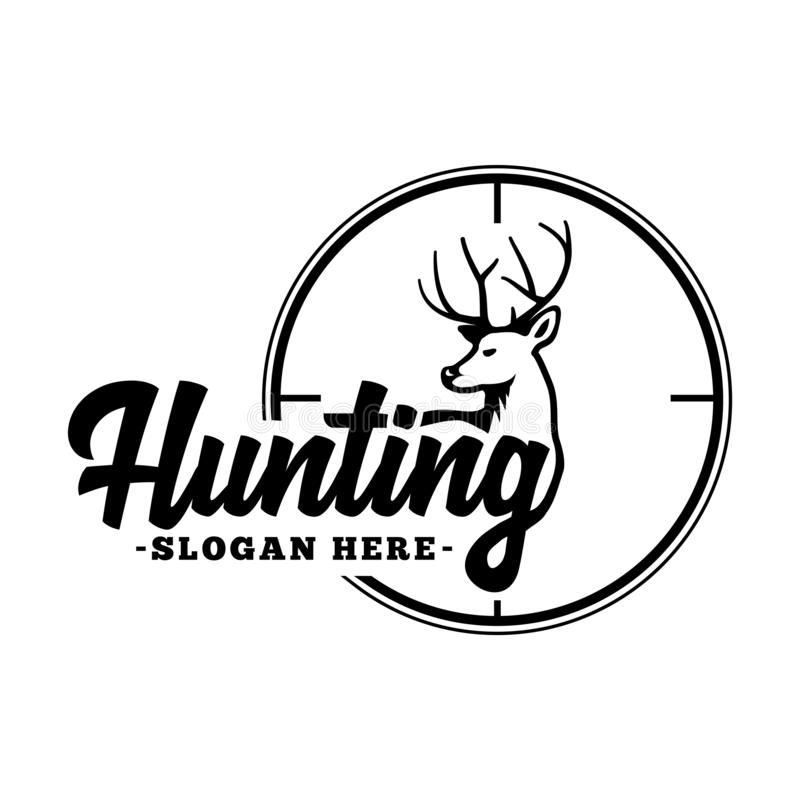 Hunting Logo Black And White Lettering Design Decorative