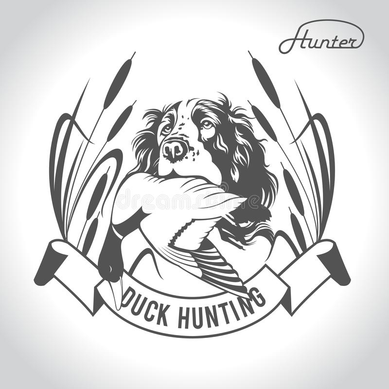 Free Hunting Logo Hunting Dog With A Wild Duck In His Teeth And Design Elements. The Outfit Of The Hunter.4 Stock Photography - 116539782