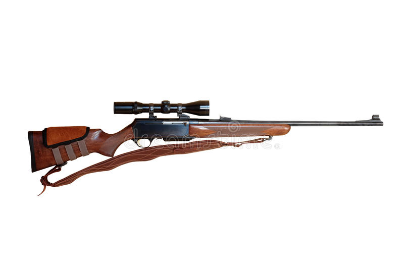 Hunting rifle. Semiautomatic hunting rifle large-caliber equipped with optical viewfinder cut off and isolated royalty free stock images