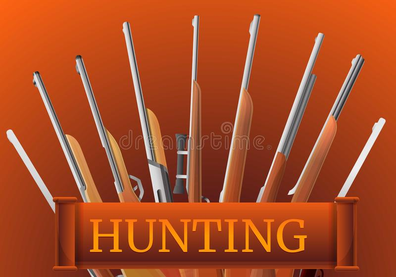 Hunting rifle type concept banner, cartoon style stock illustration
