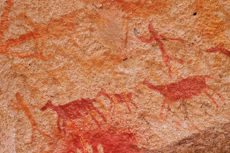 Hunting Scene in Ancient Cave Paintings stock image