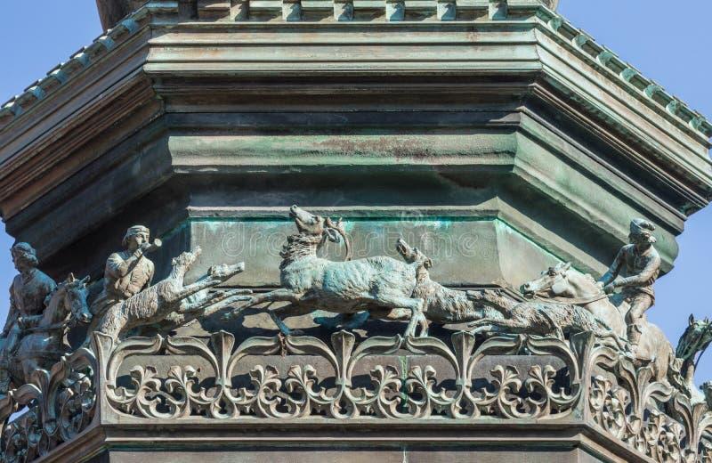 Hunting scene on Duke of Buccleuch Statue, Edinburgh, Scotland, royalty free stock photo