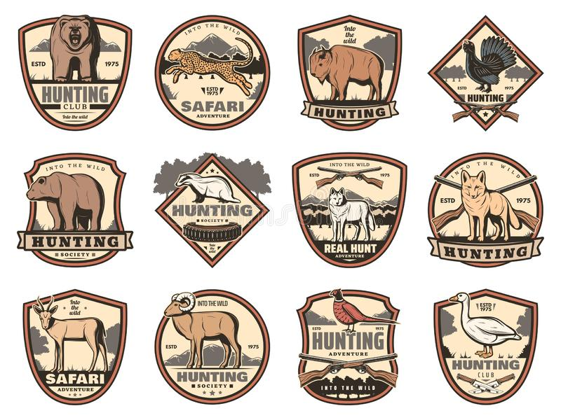 Hunting icons with animals, birds and rifle stock illustration