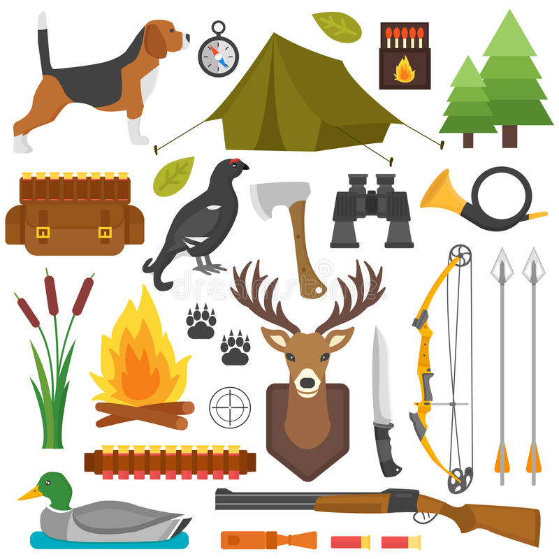 Hunting Symbols Set Stock Illustration Illustration Of Collection