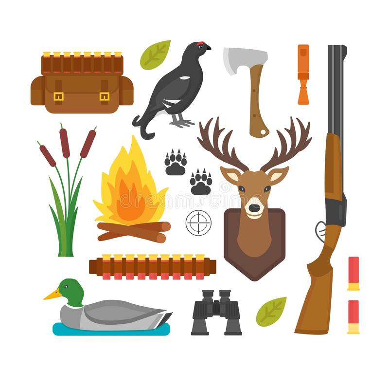 Hunting Symbols Vector Set Stock Vector Illustration Of Outfit
