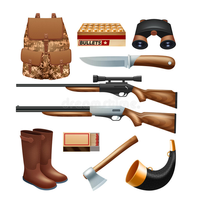 Hunting tackle and equipment icons set stock illustration